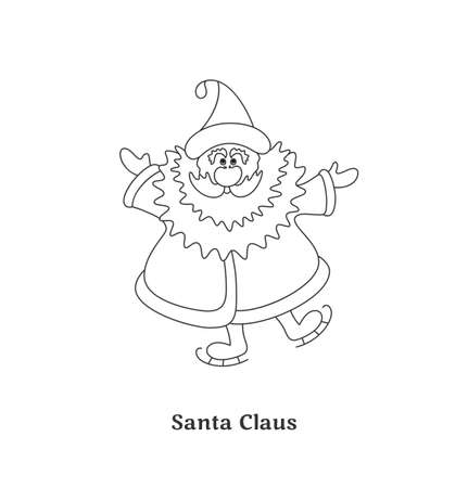 Santa Claus isolated on white background  Black-and-white vector illustration