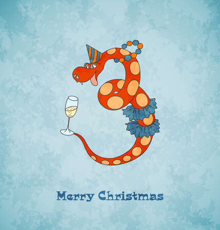 Christmas card with happy snake  2013 new year  Blue vintage background  Vector Illustration  Vector