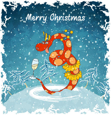 Card with happy snake  2013 new year  Christmas landscape with snowfall  Blue vintage background  Vector Illustration