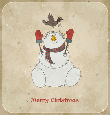 Merry snowman with bird  Christmas card  Vintage background  Vector Illustration  Vector
