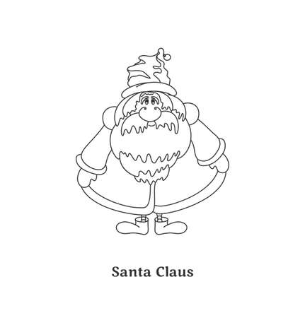 Santa Claus isolated on white background  Black-and-white vector illustration  Vector