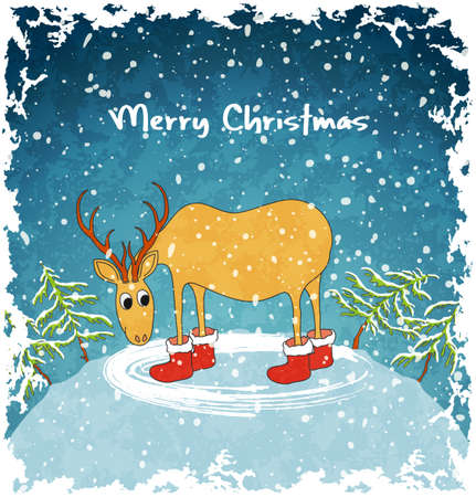 Card with merry deer  Blue vintage background  Christmas landscape with snowfall  Vector Illustration  Vector