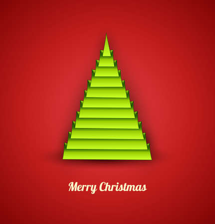 Green christmas tree in a geometric style on red background  Concept card  Vector Illustration