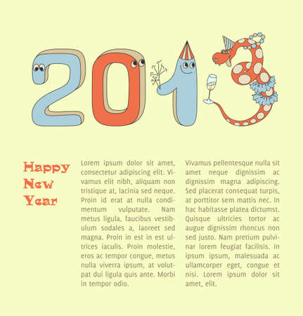 Numbers and snake  2013 new year  Christmas card  Blue vintage background  Vector Illustration