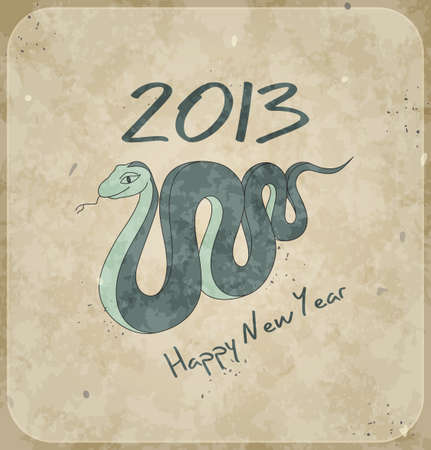 Numbers and snake  Christmas card  2013 new year  Blue vintage background  Vector Illustration