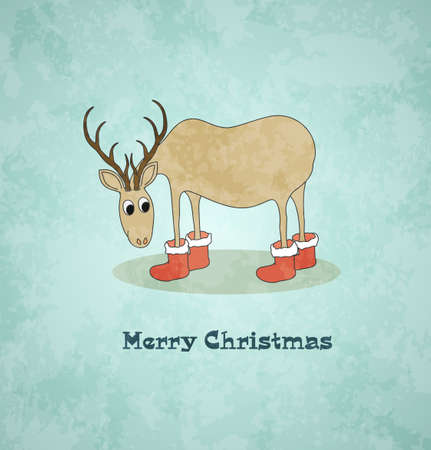 Card with christmas deer  Vintage background  Vector Illustration Stock Vector - 16231818