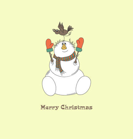 Merry snowman with bird  Christmas card  Yellow vintage background  Vector Illustration  Illustration