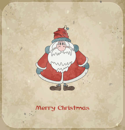 Christmas card with merry Santa Claus  Vintage background  Vector Illustration