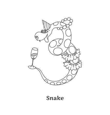 Happy snake isolated on white background  Black-and-white vector illustration  Vector