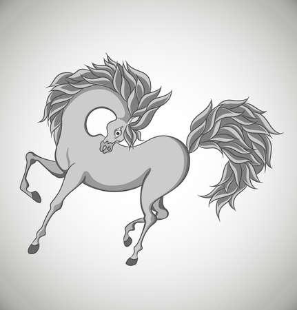 Stylized horse isolated on white background. Vector Illustration. Vector