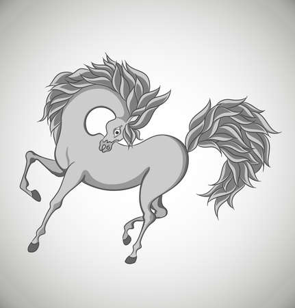 Stylized horse isolated on white background. Vector Illustration.