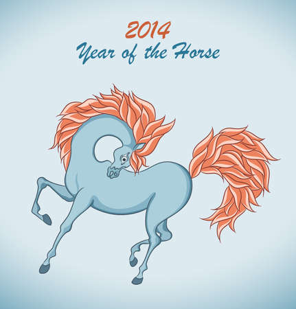 Blue background with symbol of 2014 New Year. Horse on christmas card. Vector Illustration. Stock Vector - 20371269