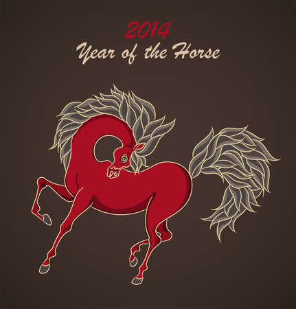 Dark background with symbol of 2014 New Year. Horse on christmas card. Vector Illustration. Illustration