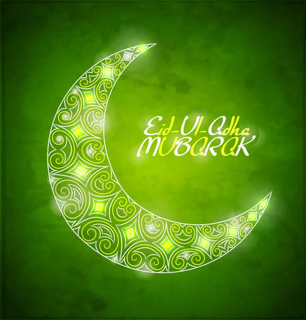 adha: Card for the holy month of Ramadan  Shiny crescent moon on green background  Vector Illustration  Illustration