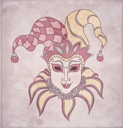 masque: Vintage card for Mardi Gras  Decorative carnival venetian mask on pink background  Vector Illustration