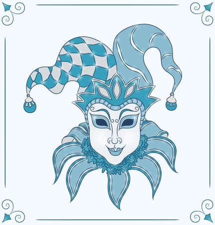 青い背景ベクトル イラストの装飾マルディグラのカーニバル ベネチアン マスクのヴィンテージのカード