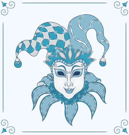 venetian mask: Vintage card for Mardi Gras  Decorative carnival venetian mask on blue background  Vector Illustration  Illustration