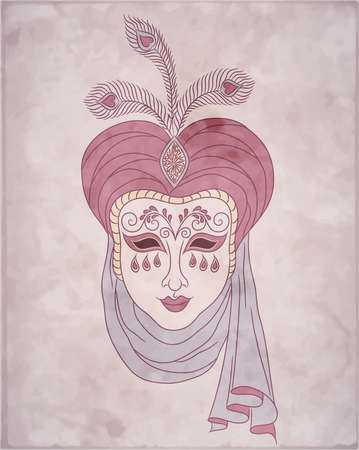 turban: Vintage card for Mardi Gras  Decorative carnival venetian mask on pink background  Vector Illustration