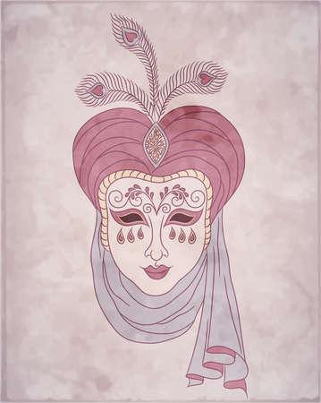 Vintage card for Mardi Gras  Decorative carnival venetian mask on pink background  Vector Illustration