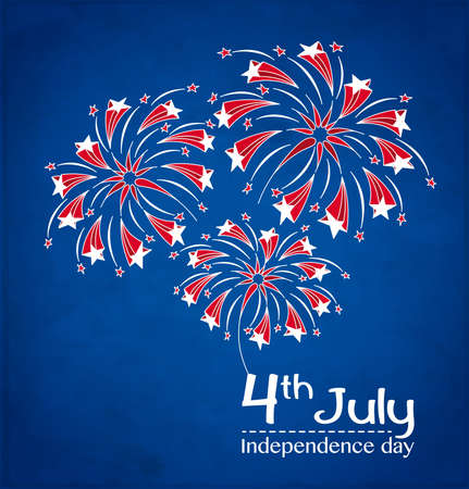 네번째: 7월 4일 벡터 일러스트 레이 션을위한 독립 기념일 카드의 명예에 축제 불꽃 놀이와 배경
