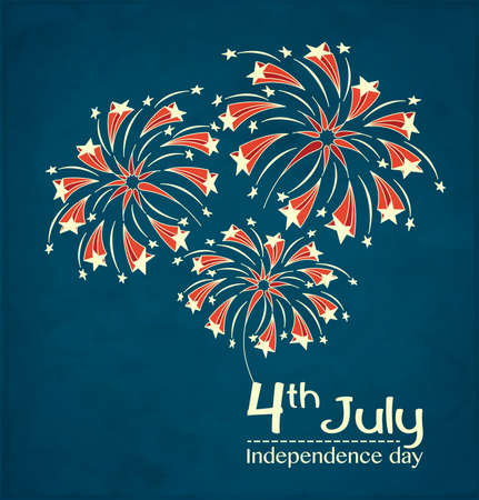 Background with festive fireworks in honor of Independence day  Card for 4th July  Vector Illustration  Illustration