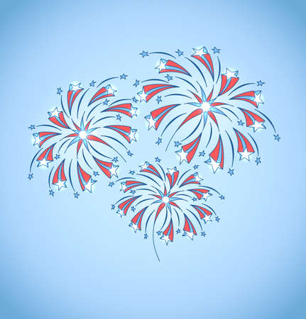 Background with festive fireworks in honor of Independence day  Vector Illustration  Illustration