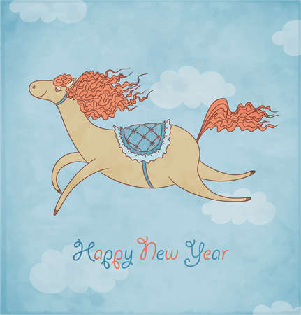 Blue background with symbol of 2014 New Year  Horse on christmas card  Vector Illustration  Vector
