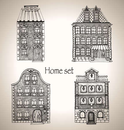 Set of retro house  Buildings in a sketch style  Hand-drawn vector illustration