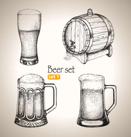 beer mugs: Beer set  Sketch elements for oktoberfest festival  Hand-drawn vector illustration  Set 1