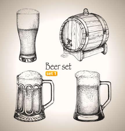 vasos de cerveza: Conjunto de la cerveza de boceto para la Oktoberfest festival de dibujado a mano ilustraci�n vectorial Set 1