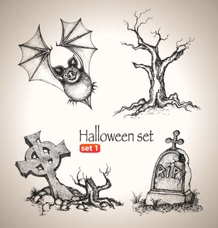 Halloween set  Sketch elements for spooky holiday  Hand-drawn vector illustration  Set 1 Vector