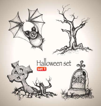 Halloween set  Sketch elements for spooky holiday  Hand-drawn vector illustration  Set 1 Illustration