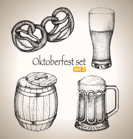 barrels set: Beer set  Sketch elements for oktoberfest festival  Hand-drawn vector illustration  Set 2