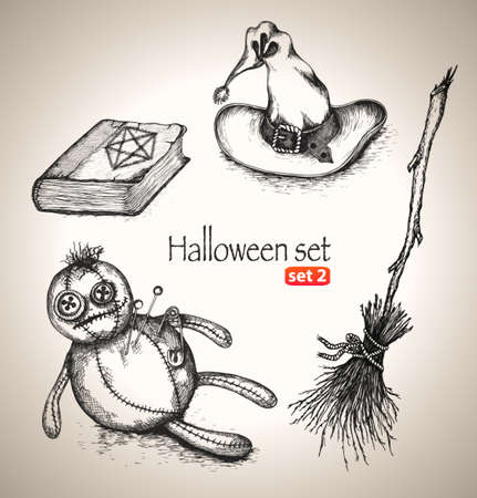 Halloween set  Sketch elements for spooky holiday  Hand-drawn vector illustration  Set 2