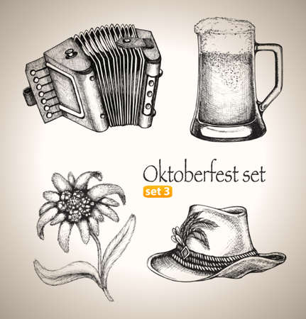 Sketch elements for oktoberfest festival  Hand-drawn vector illustration  Set 3