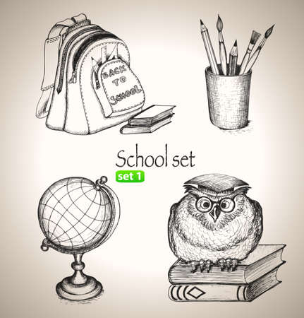 Science set  Sketch elements for school  Hand-drawn vector illustration  Set 1 Vector