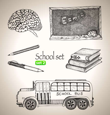 Science set  Sketch elements for school  Hand-drawn vector illustration  Set 3