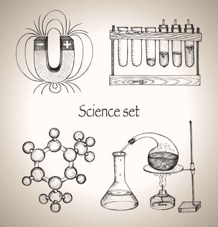 Science set  Sketch elements for school  Hand-drawn vector illustration  Ilustracja