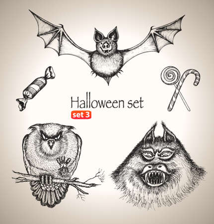 Halloween set  Sketch elements for spooky holiday  Hand-drawn vector illustration  Set 3 Vector