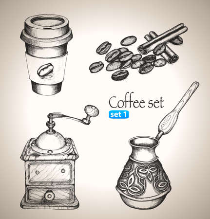 Coffee set  Sketch elements  Hand-drawn vector illustration  Set 1 Illustration