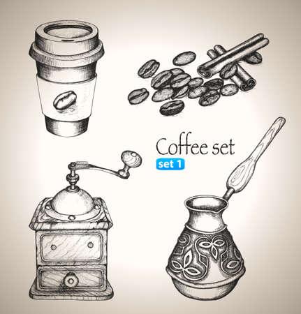 Coffee set  Sketch elements  Hand-drawn vector illustration  Set 1 Illustration