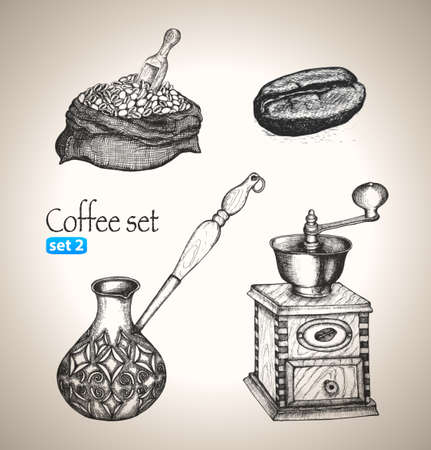 grinder: Coffee set Sketch elementi disegnati a mano illustrazione vettoriale Set 2