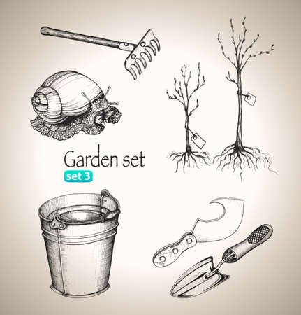Garden set  Sketch elements  Hand-drawn vector illustration  Set 3