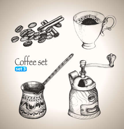 Coffee set  Sketch elements  Hand-drawn vector illustration  Set 3