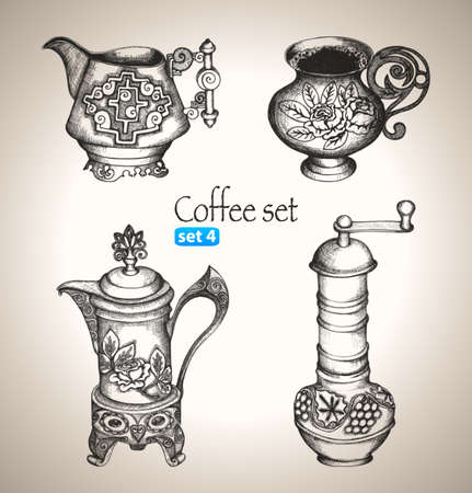 Coffee set  Sketch elements  Hand-drawn vector illustration  Set 4 Vector