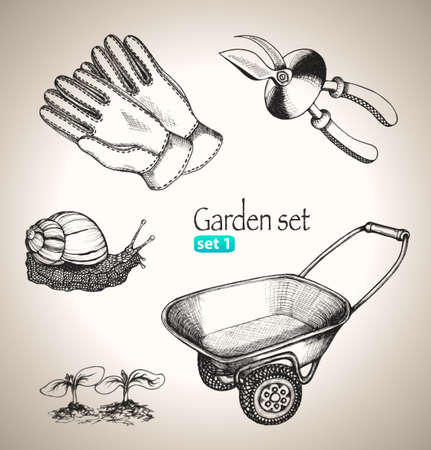 Garden set  Sketch elements  Hand-drawn vector illustration  Set 1