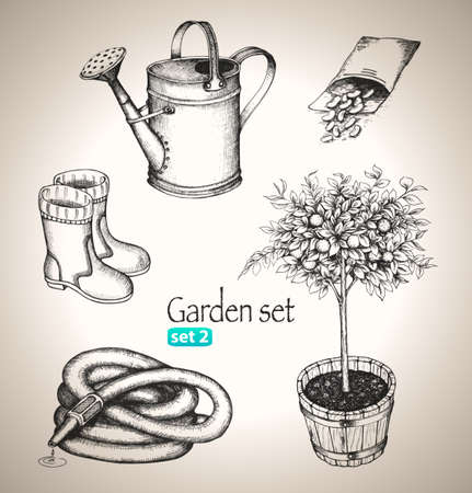 Garden set  Sketch elements  Hand-drawn vector illustration  Set 2