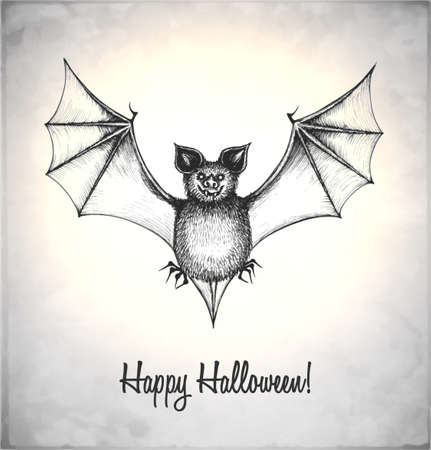 Scary bat in a sketch style. Hand-drawn card for Halloween. Vector illustration. Stock Vector - 22100196