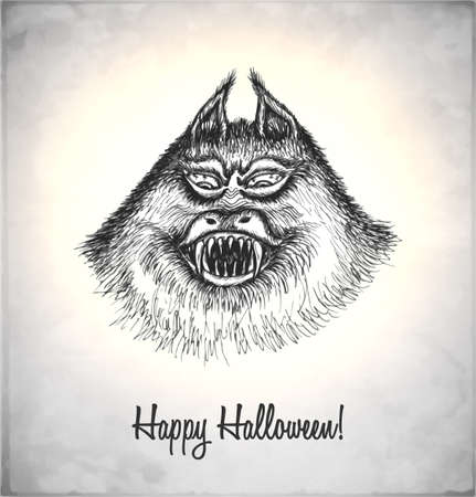 Scary monster in a sketch style. Hand-drawn card for Halloween. Vector illustration. Stock Vector - 22100197