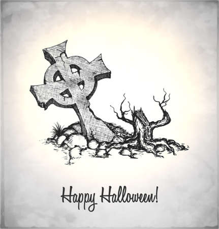 Tombstone in a sketch style. Hand-drawn card for Halloween. Vector illustration. Stock Vector - 22100200